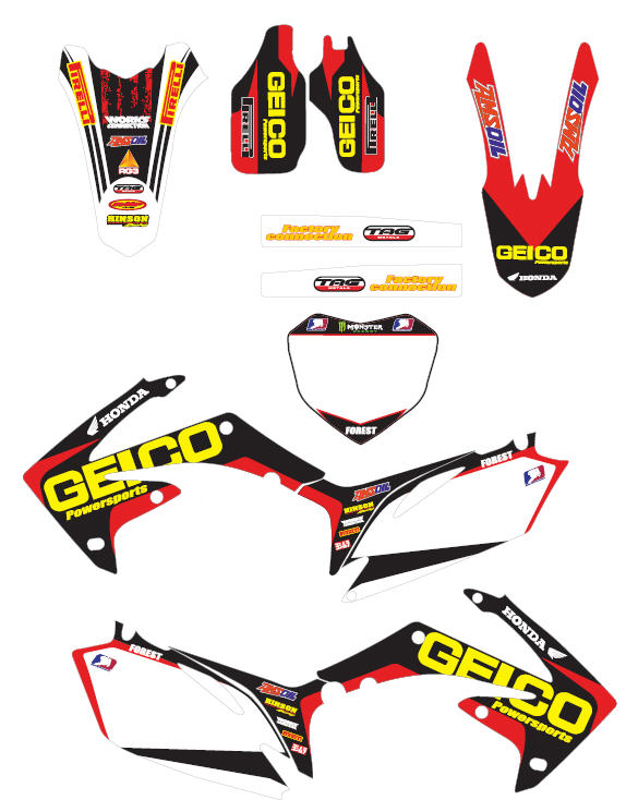 geico powersports graphic kit 2009 2010 crf450 dec dirtbike