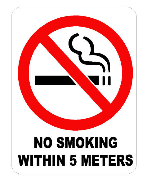 No Smoking Within X Meters Feet Decal Dec
