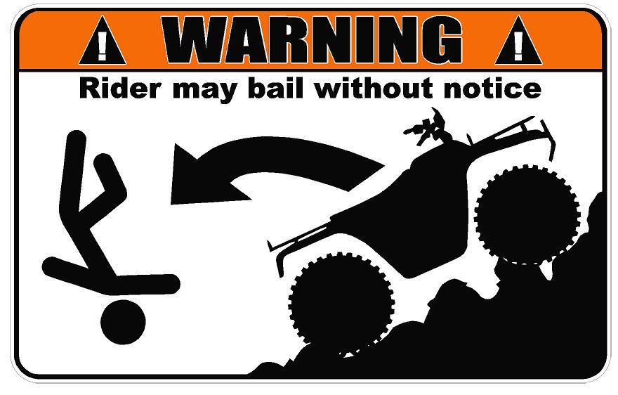 Warning Atv Rider May Bail Decal Dec Warn Atv Rider May